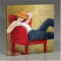 Pluscanvas - Woman Laying On Red Chair Tablo