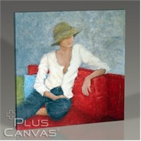 Pluscanvas - Woman Sitting On Red Chair Tablo