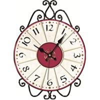 Kırmızılı Ferforje Duvar Saati