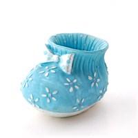 Çiçekli Büyük Patik Mavi 6'Lı Set