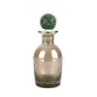 Dekoratif Şişe Daire Kabartmalı Yeşil Taşlı Kapaklı