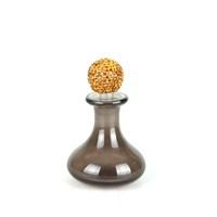 Dekoratif Mini Şişe Düz Camlı Sarı Taşlı Kapaklı