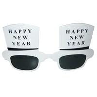 Beyaz Happy New Year Yeniyıl Gözlüğü