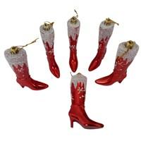 Yılbaşı Süslemesi 6 Lı Kırmızı Çizme 11 Cm