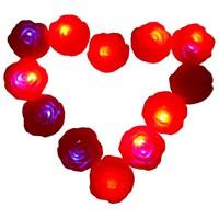 Suda Yanan Tekli Kırmızı Gül Şeklinde Renkli Işık