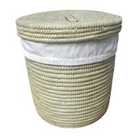 Naturel Çamaşır Sepeti Palmiye Ağacı İçi Kumaşlı