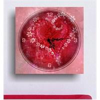 Çiçekli Kalp Kanvas Tablo Saat