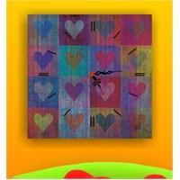 Renkli Kalpler Kanvas Tablo Saat