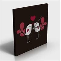 Kuşlar ve Kalp Kanvas Tablo Saat