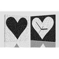Yazılı Kalpler Kanvas Tablo Saat