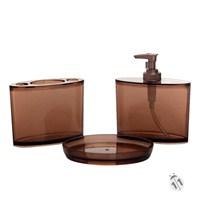 Halka Desen Kahverengi Akrilik 3'lü Banyo Seti