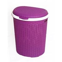 İstridye Çamaşır Sepeti Plastik Rattan - Mor