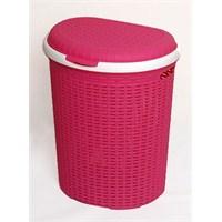 İstridye Çamaşır Sepeti Plastik Rattan - Pembe