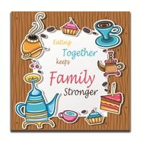 Dolce Home Dekoratif Aile ile Yemek Temalı Tablo