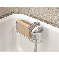 Gümüş Renkli Çelik Vantuzlu Süngerlik/Fırçalık