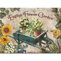 English Flower Garden Blue Barrow Magnet