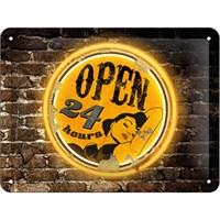 Full Throttle - Open 24H Metal Kabartmalı Pin Up Duvar Panosu