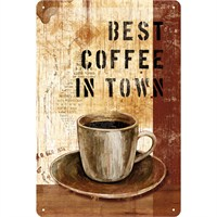 Best Coffee İn Town Metal Kabartmalı Duvar Panosu