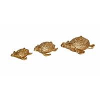 Dekoratif İncili 3'lü Altın Kaplumbağa Süsü