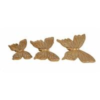 Dekoratif Taşlı 3'lü Altın Kelebek Süsü