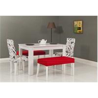Mobetto Hanımeli Masa+ Sandalye Seti Kırmızı
