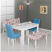 Mobetto Papatya Masa Seti Mavi (Bank+Puf+2 Adet Sandalye+Masa)