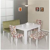 Mobetto Papatya Masa Seti Yeşil (Bank+Puf+2 Adet Sandalye+Masa)