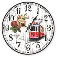 Mdf Tramvay Desenli Duvar Saati
