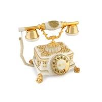 Şato Beyaz Varaklı Zirkon Taşlı Telefon