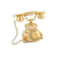 Güllü Beyaz Varaklı Zirkon Taşlı Telefon