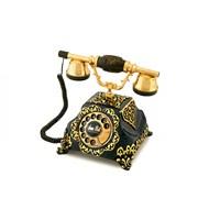 Şehrazat Antik Siyah Altın Varaklı Telefon