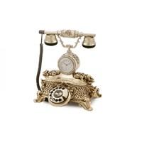 Saatli Güllü Varaklı Gümüş Telefon