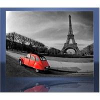 Kırmızı Araba Ve Eyfel Kanvas Tablo