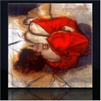 Kırmızılı Kadın Kanvas Tablo
