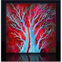 Ağaç Ve Kırmızı Kanvas Tablo