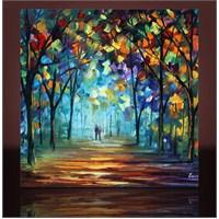 Yol Ve Ağaçlar Kanvas Tablo