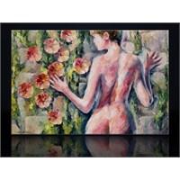 Kadın Ve Çiçek Kanvas Tablo
