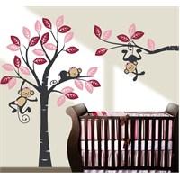 Bestasticker Renkli Ağaç Maymunlar Sticker