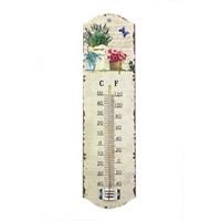 Çiçek Motifli Ahşap Termometre
