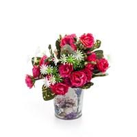 Metal Çiçek Desenli Oval Saksı