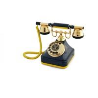 Anna Bell Sarı Lacivert Klasik Çevirmeli Telefon 2