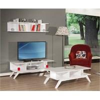 Moda Life Mobetto Lotus Üçlü Set(Tv Sehpası+Duvar Rafı+Orta Sehpa) Beyaz