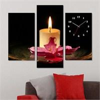 Tabloshop - Candles Tablo Saat - 81X60cm - Çerçeve Hediye