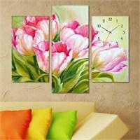 Tabloshop - Tulips Tablo Saat - 81X60cm - Çerçeve Hediye