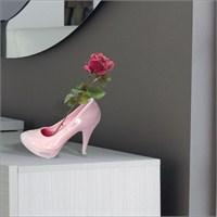 Seramik Pembe Topuklu Ayakkabı Biblo