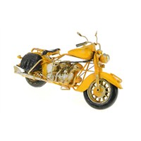 Metal Retro Sarı Motorsiklet