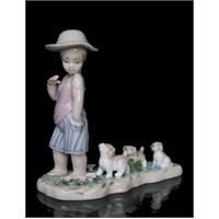 Kız Çocuk Ve Köpekleri Figürlü Porselen Biblo