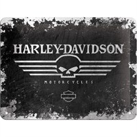 Harley Davidson Skull Metal Kabartmalı Duvar Panosu