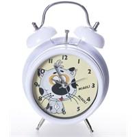 Alarmlı Masa Saati Kedili Beyaz
