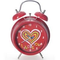 Alarmlı Masa Saati Kalpli Kırmızı